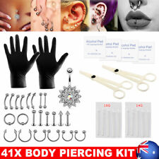 41PC Body Piercing Kit Needle Nipple Tongue Eyebrow Nose Lip Ring Clamps Jewelry