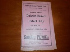 More details for dulwich hamlet  v  oxford city  1932/3 isthmian league ~ april 29th  **pre-war**