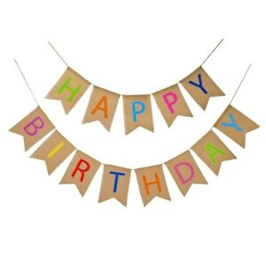Happy Birthday Banner Decorations Rustic Party Hessian Burlap 1st 18th 21st 30th