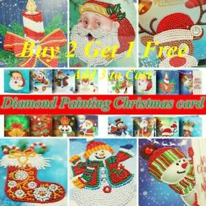 Christmas Card 5D DIY Partial Drill Diamond Painting Greeting Festival Gift Arts