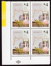 CHILE 1977 STAMP # 919 MNH BLOCK OF FOUR SCIENCE CORNER OF SHEET