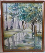 """Huile sur Toile """" J. Lancel """" Canal Bordé d'Arbres Cadre Bois Peinture Tableau"""