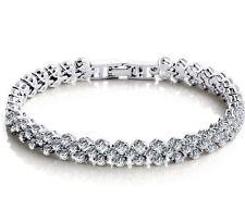 Sterling Silver Topaz Austrian Crystal Chain Bracelet Wedding Bridal Gift BoxA22