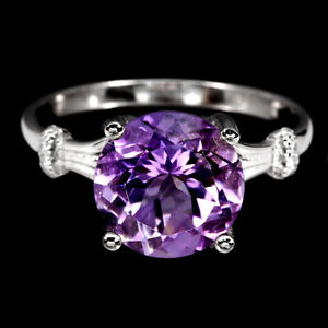 Unheated Round Amethyst 10mm Cz 14K White Gold Plate 925 Sterling Silver Ring 8