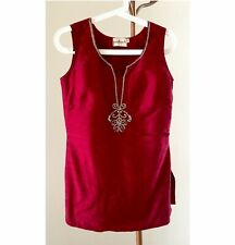 Indian silk deep red tunic blouse, gold embroidery and rhinestones, fully lined