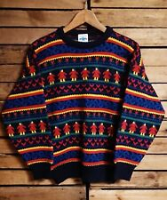 Vintage Ladies1980's Blue/Multi Patterned Winter Jumper. Size S