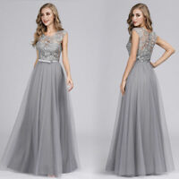 Ever-Pretty US Lace Mesh Grey Evening Dress A-line Bridesmaid Cocktail Prom Gown