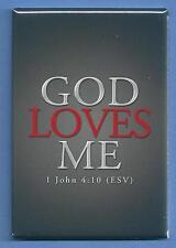 GOD LOVES ME *2X3 FRIDGE MAGNET* INSPIRATIONAL SCRIPTURE BIBLE 1 JOHN 4.10 870