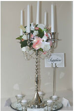 Brand New 60cm Tall Silver Chic 5 arm Twist Candelabra Wedding Centre Piece