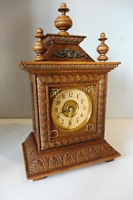 Old Antique Small German Table Clock shelf Mantel Old Clock Vintage Oak Wood
