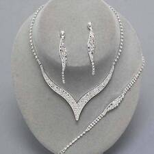 Bridal Prom Wedding Clear Crystal Silver V Necklace Bracelet Earring Set Jewelry