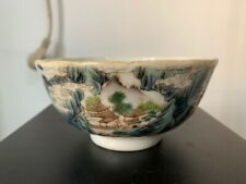 Antique Chinese Famille Rose Porcelain Landscape Bowl Red Stamp Mark Age Unknown
