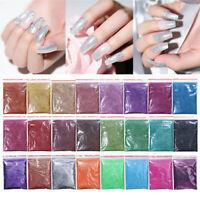 5/10/20g Holographic Nail Glitter Powder Silver Black  Pigment Dust DIY