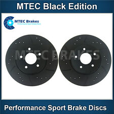 Mazda 626 2.0 GE 02/92-06/97 Front Brake Discs Drilled Grooved Mtec BlackEdition