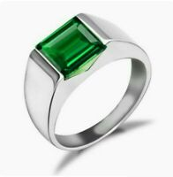 925 Sterling Silver Natural Colombian Emerald Octagon Shape Hydro Quartz Ring