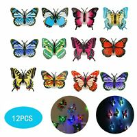 12Pack Glowing 3D Butterfly LED Wall Stickers Night Light Bedroom DIY Home Decor