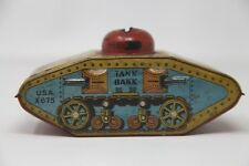 Vintage Lithographed Tin Toy MILITARY TANK BANK X675- Coin Bank- Made in USA