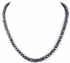🔥 141.50ct BLACK DIAMOND Bead Necklace Chain Hip-Hop MICHAEL JORDAN CERT $5,945