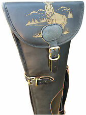 STAG ENGRAVED Black Leather Shotgun Slip Case  - Limited Edition Design