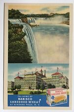 NY Postcard Niagara Falls Home Nabisco Shredded Wheat factory ad Tichnor linen