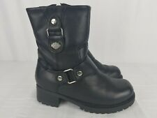 Harley Davidson Alivia Womens Boots 84269 Size 5.5 Leather Motorcycle Side Zip