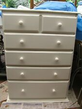 TALLBOY CHEST OF DRAWS - SOLID PINE -  NEWLY PAINTED WHITE.