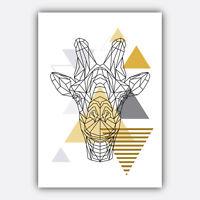 GEOMETRIC Art PRINT Yellow & Grey ANIMAL collection SCANDI Poster Wall 3 for 2