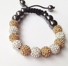 SPARKLY GOLD & WHITE SHAMBALLA BRACELET- 11 DISCO BEADS-CZECH CRYSTAL-UK SELLER