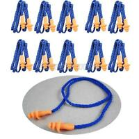 10Pcs Soft Silicone Safety Corded Ear Plugs Reusable Hearing Protection Earplugs