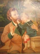 CHROMOLITHOGRAPHIE VERS 1900 HOMME ET ENFANT