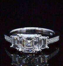 Diamond Engagement Ring 14K Egl G,Vs1 1.71 Ct Asscher Cut Trapezoid Round Accent