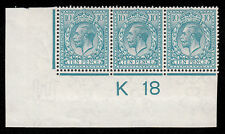 SG394 10d. K18 Control strip of 3, mounted mint.  Royal Cypher.