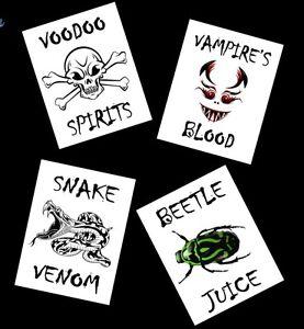 4 Halloween Bottle Labels For Wine Vodka Whiskey Soda Etc