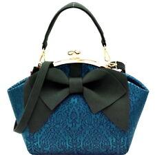 Handbag Blue Green Black Bow Accent Kiss Lock Satchel