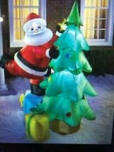 7 ft Lighted Inflatable Santa & Christmas Tree -Tested Good. NOS,w blower-cord.