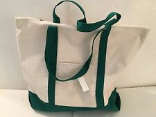 LARGE zippered CANVAS beach cotton natural tote bag pocket FOREST GREEN trim NEW