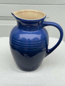 Le Creuset French Stoneware Pottery 2 Quart Pitcher Blue # 0635