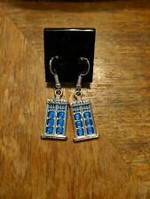 Doctor Who Tardis Sterling Silver .925 Stamp Earrings Jewelry Blue Police Box