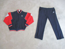 VINTAGE Adidas Track Suit Adult Medium Red Blue Spell Out Cotton Made USA 80s