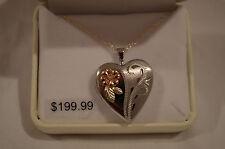 NEW Black Hills Gold locket heart rose flower womens ladies silver