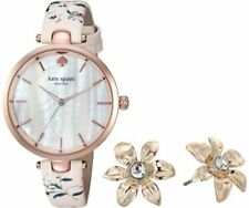 Kate Spade Women Holland Floral Leather Watch + Earrings Set KSW1422B NWT