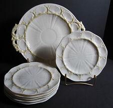 Irish Belleek 0223-3G New Shell Cake Set for 6 Handmade Sea Shells Coral 7 pcs