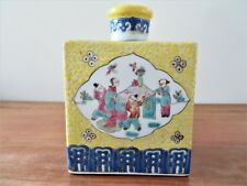 ANTIQUE CHINESE FAMILLE ROSE PORCELAIN TEA CADDY ON YELLOW ENAMEL GROUND