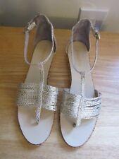 Faryl Robin Gold Sandal Strappy Shoe Ankle Wrap Anthropologie 39 EU 8 US Snake