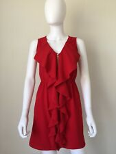Hello Miss Red Dress Short Cocktail Dress Front Zip Frilly Front Sz S