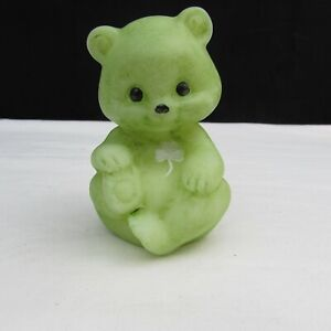 Fenton Opal Satin Shamrock Hand Painted Sponsler OOAK? Sitting Bear C2137