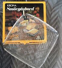 "Vintage ROYAL KRONA Crystal Glass ""CHEERS"" Entertainment Platter Sweden 1970s"