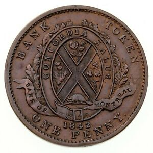 1842 Bank of Montreal Province of Canada Penny Token XF Condition, Die crack