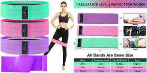 hksod Resistance Bands for Legs and Butt, 3 Levels Fabric Green/Pink/Purple