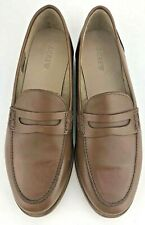 J.Crew Ryan Penny Loafers Shoes Brown Leather Slip On Womens H8200 Size 10